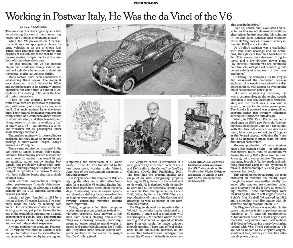 NYT on De Virgilio
