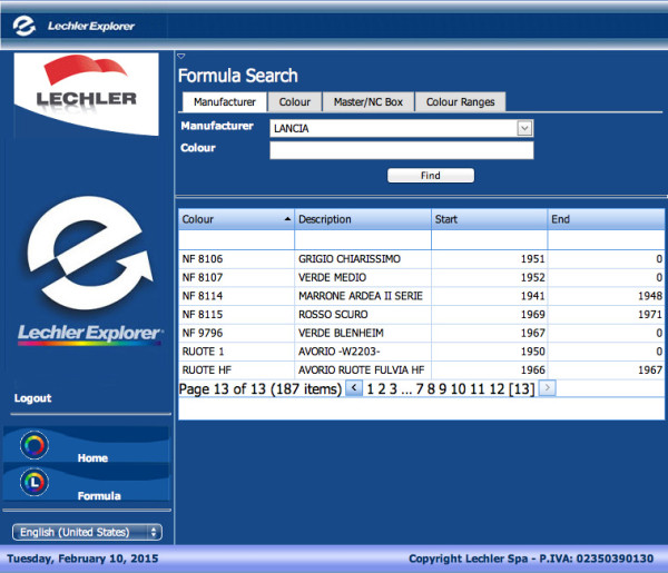 Screen shot from Lechler's online paint selector. Note that even wheel paints are listed